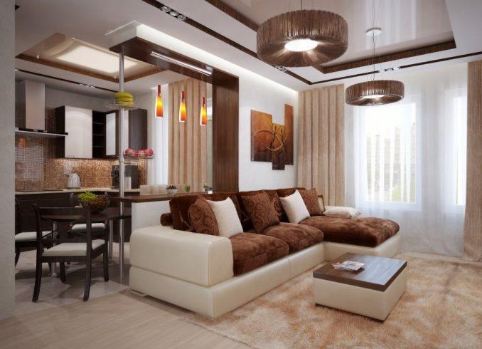 Гостиная, совмещённая с кухней в современном стиле