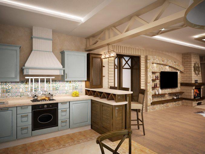 Гостиная, совмещённая с кухней в стилепрованс