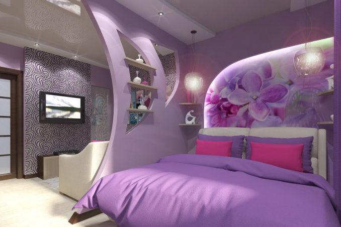 Гостиная совмещенная со спальней фиолетового цвета