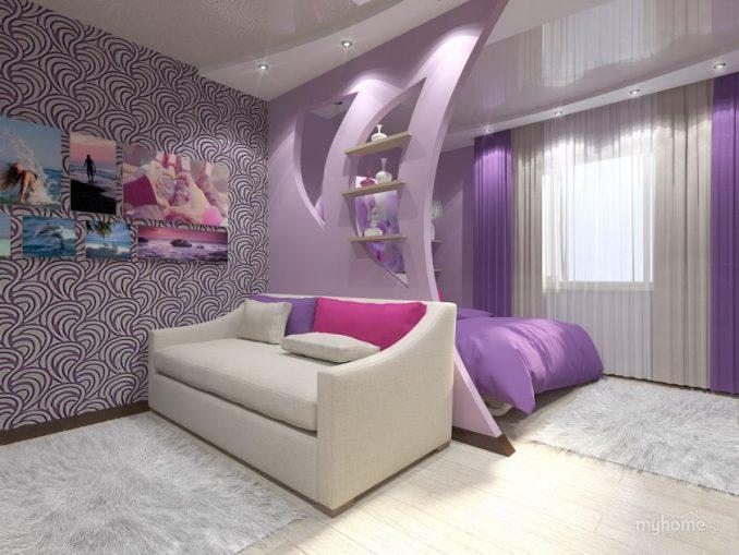 Гостиная совмещенная со спальней фото