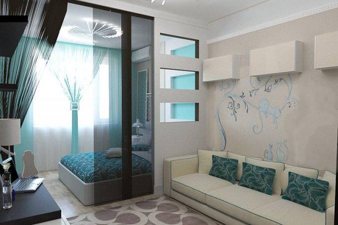 Гостиная совмещенная со спальней µ мебели