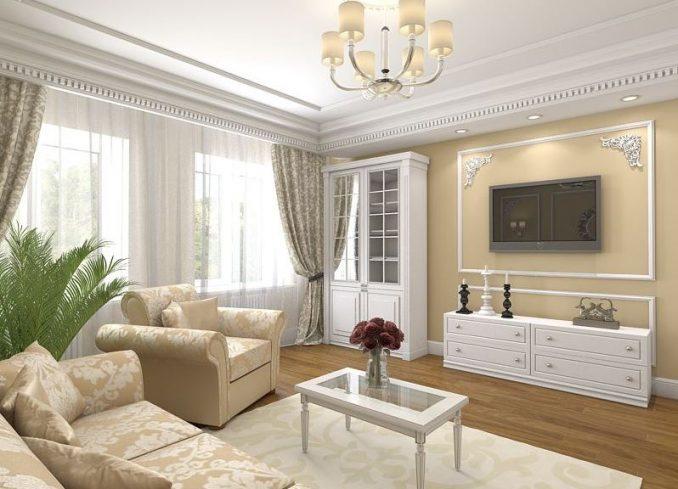 Гостиная в классическом стиле в квартире