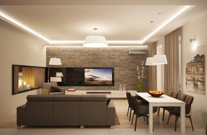 Гостиная в стиле минимализм со столовым столом