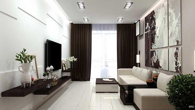Интерьер гостиной 17 кв. м. в панельном доме
