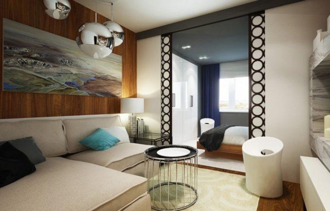 Интерьер спальни-гостиной фото