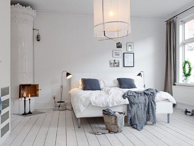 Интерьер спальня в скандинавском стиле фотографии