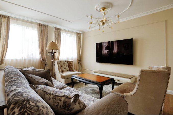 Интерьер стены с телевизором