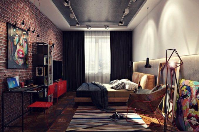 Интерьер стиля лофт в спальне