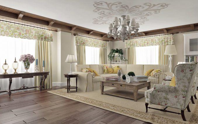 Интерьер в гостиной комнате в стиле прованс