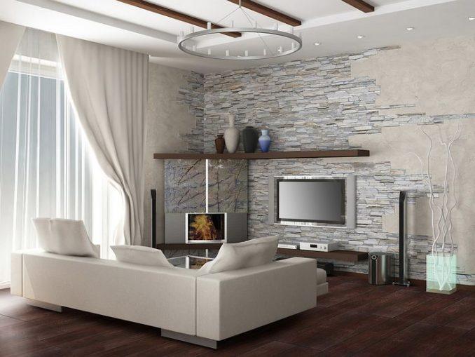 Искусственный камень в интерьере комнаты