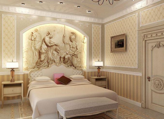 Изящный декор спальни в классическом стиле 2019