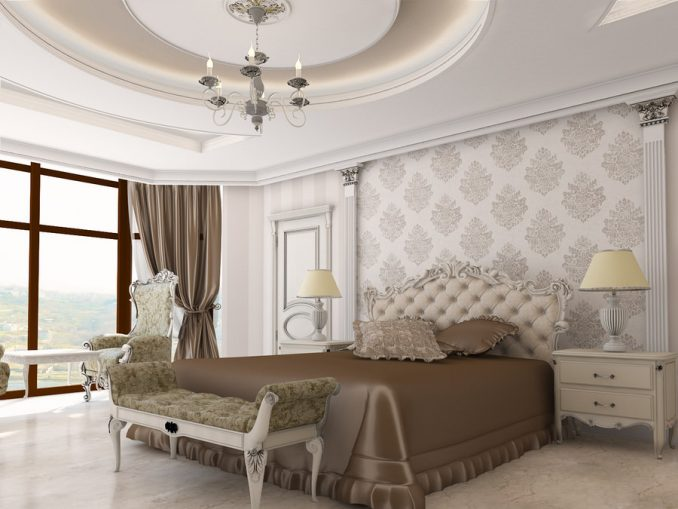 Изящный декор спальни в классическом стиле фото