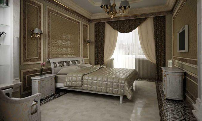 Классический стиль в большой спальне