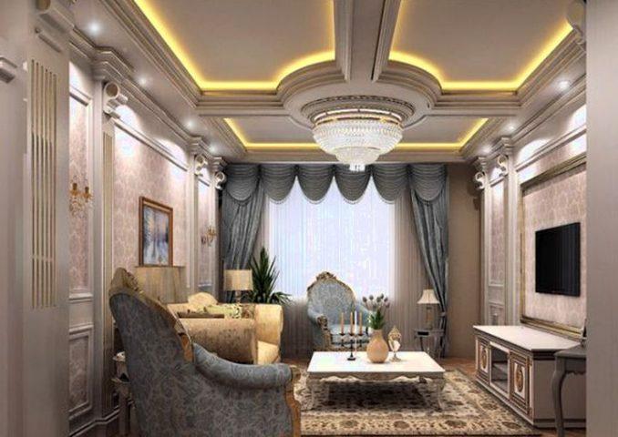 Красивые потолки из гипсокартона фото для гостиной стиле классика