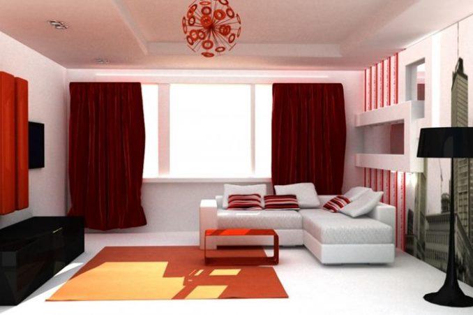 Красный цвет в интерьере госиной комнаты