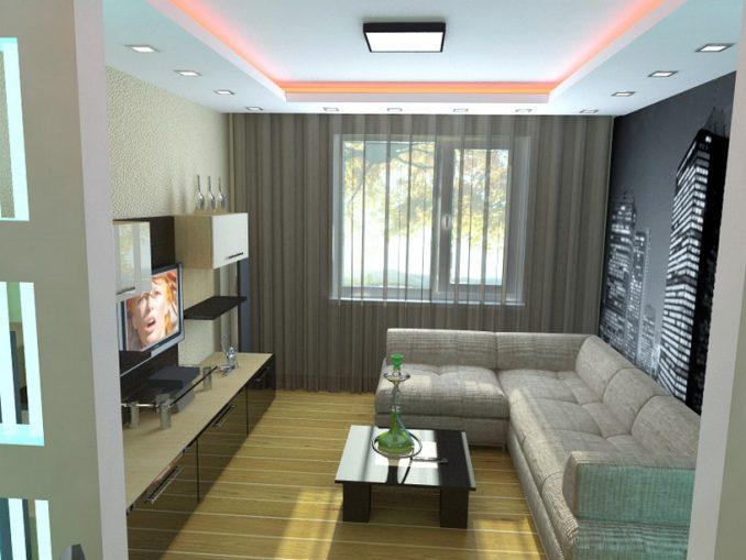 Маленькая гостиная с угловым диваном