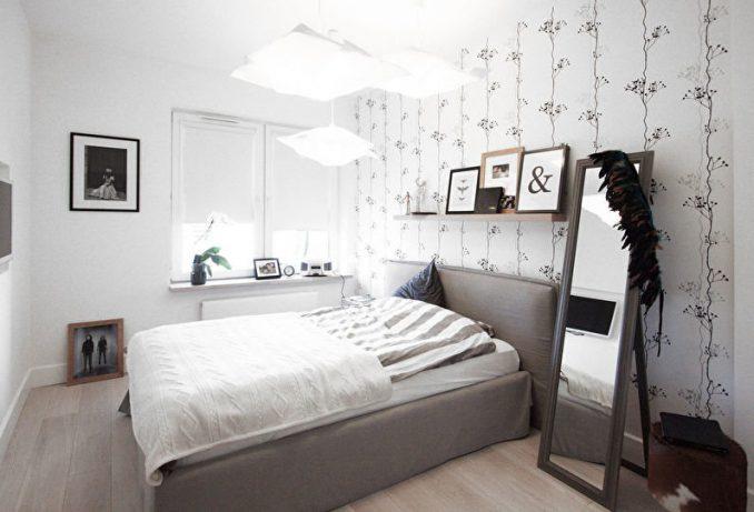 Маленькая спальня в скандинавском стиле в интерьере спальни
