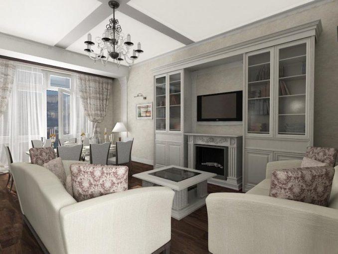 Неоклассика в интерьере гостиной с белым диваном