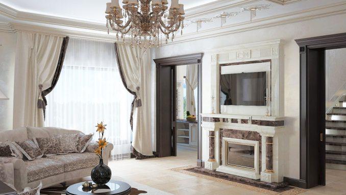 Неоклассицизм в интерьере гостиной с камином и телевизором