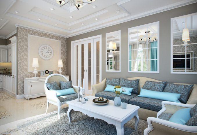Нежно-голубые бирюзовые оттенки в гостиной классического стиля фото