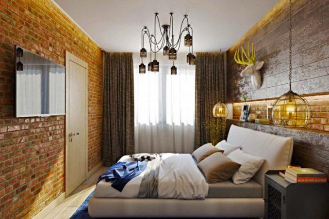 Обстановка в спальной комнате в стиле лофт