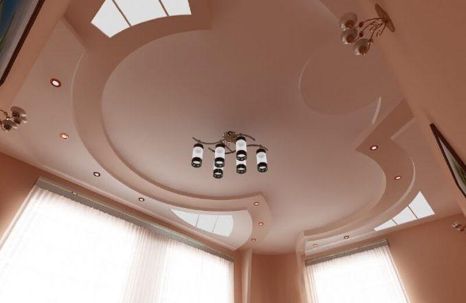 Потолок фигурный из гипсокартон фото