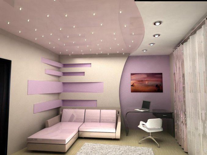 Потолок из гипсокартона с лампочками