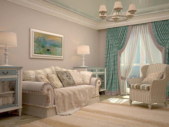 Прованс в гостиной комнате