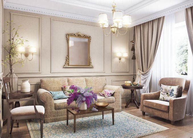 Прованс в интерьере в гостиной в постельных тонах