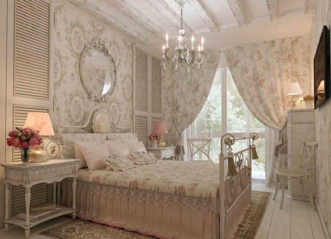 Шебби-шик дизайн спальни