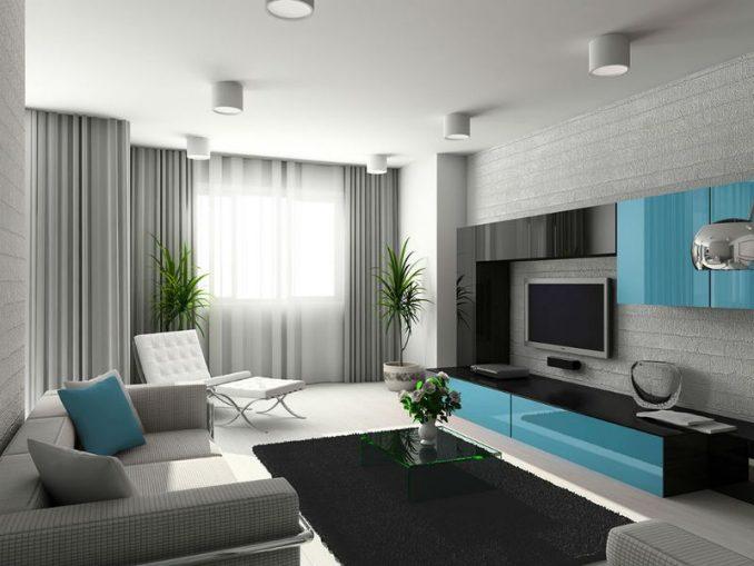 Серая гостиная комната в гостиной