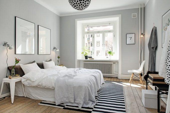 Скандинавский интерьер спальной комнаты
