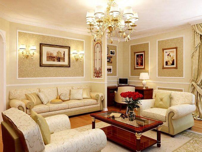 Современные цветовые гаммы в гостиной классического стиля фото