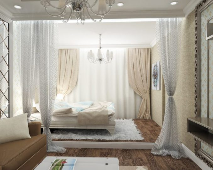 Спальня и гостиная совмещенные с перегородкой из штор