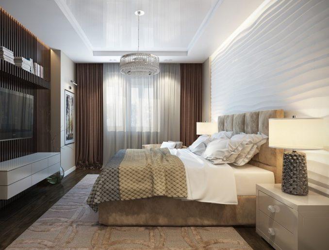 Спальня в коричнево-белых тонах