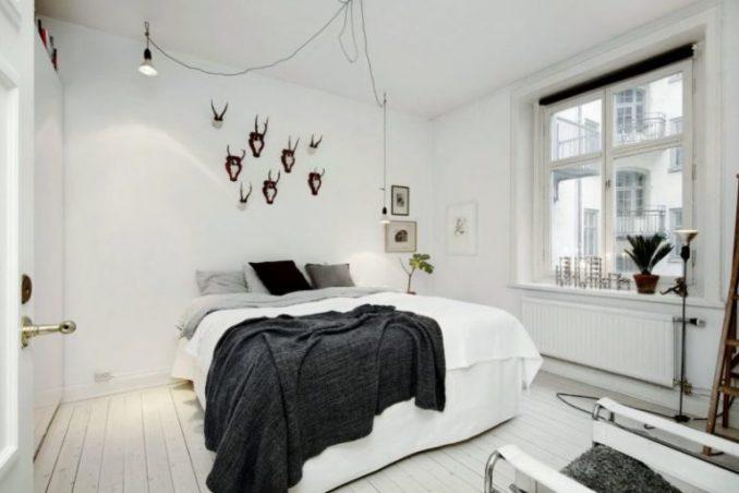 Спальня в спальных тонах в скандинавском стиле