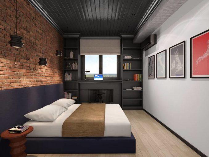 Спальня в стиле лофт с белыми стенами