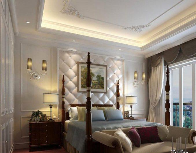 Спальню можно декорировать вазами, канделябрами, торшерами, скульптурами, подушками