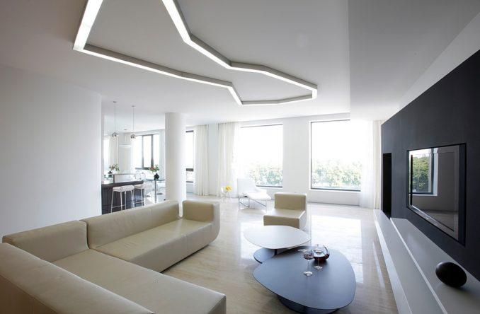 Стиль минимализм в интерьере белой гостиной