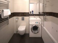Стиральная машинка под раковиной в ванной