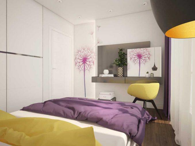 Цветная спальня в современном стиле