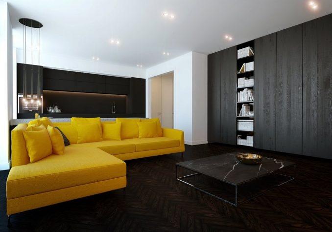 Темная гостиная с желтым диваном