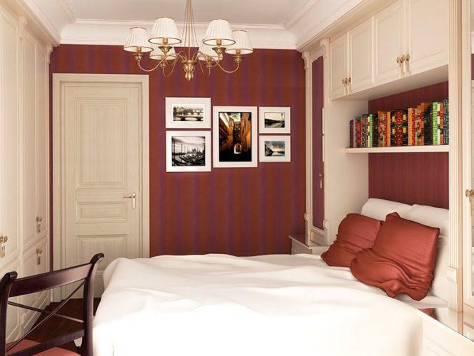 Темно-красная спальня в современном стиле