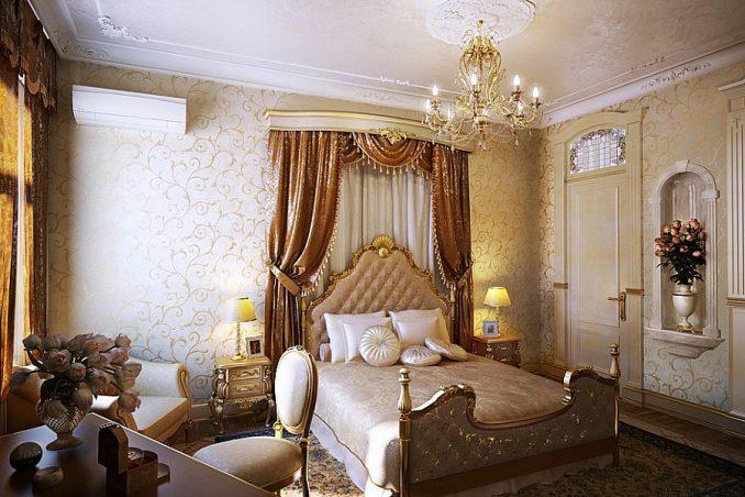 Теплые тон в интерьере спальни в классическом стиле фото