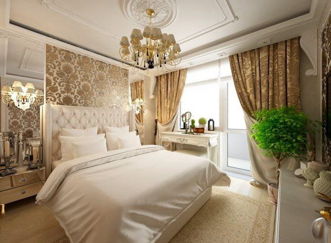 Теплые тон в интерьере спальни в классическом стиле