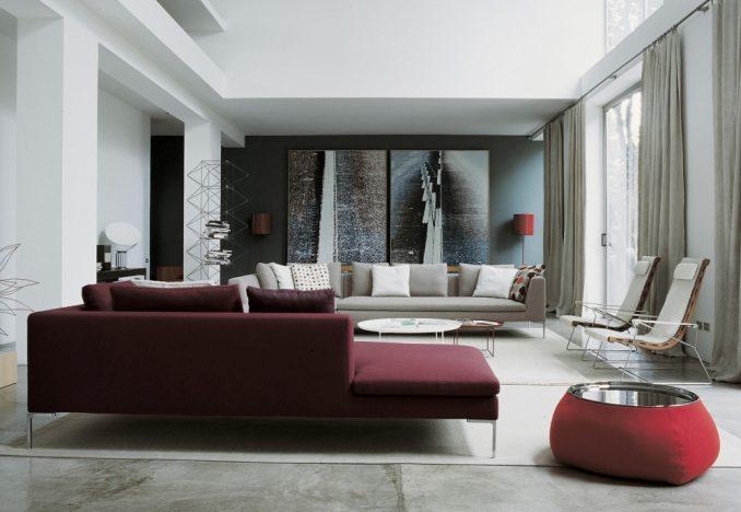 Винные оттенки в гостиной классического стиля