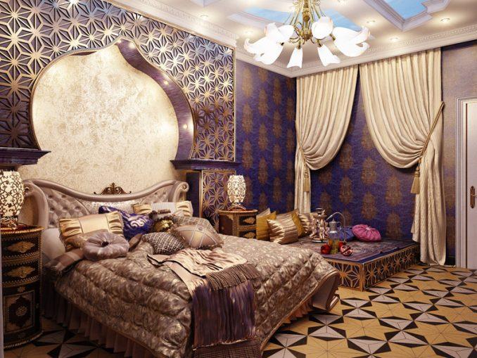 Восточный дизайн для спальной комнаты