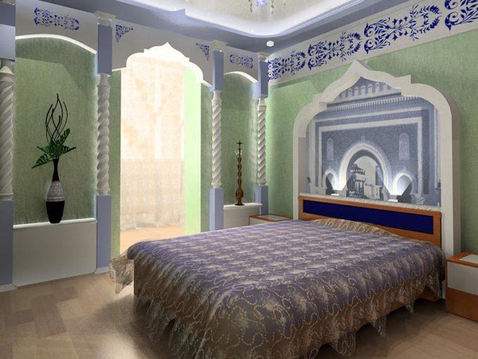 Восточный дизайн для спальной комнаты фото