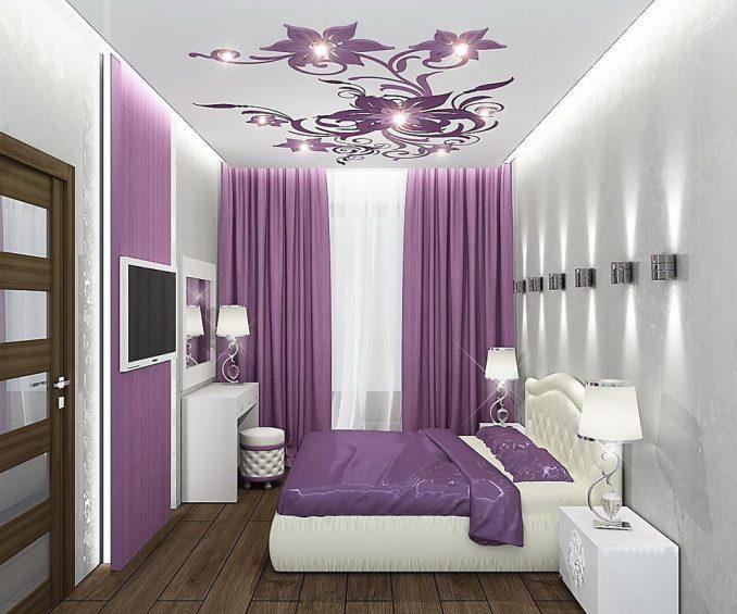 Яркая спальня 9 кв. м. в современном стиле