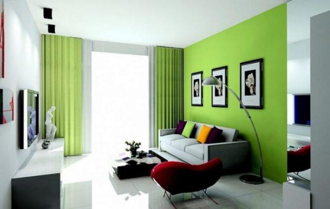 Зеленая гостиная дизайн в квартире